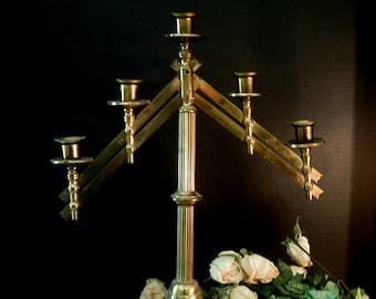 Vintage Church Candelabra / Candle Holder / Brass / Adjustable / Brass Candelabra / Cottage Chic Lighting / Brass Candlestick
