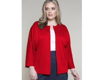 Dolman Sleeve Open Cardigan Ponte Misses & Plus Sizes 2-28