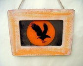New! Raven with Orange Moon Antiqued Mirror Rustic Black Bird Crow Flying Country Primitive Fall Cottage Shabby Chic Poe Home Decor Wall