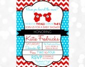Twins Baby Shower Invitation Dr. Seuss Inspired Thing 1 Thing 2 Invitation Chevron Polka Dot Red Blue (Item #12)