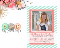 LDS Baptism Invitation For Girls - Girl Baptism Invite 8 Is Great Choose The Right Coral Mint DIY Printable Invite PDF (Item #8)
