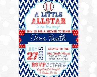 Baseball Baby Shower Invitation - Baby Boy Sports Red Blue Chevron Polka Dots Little Allstar DIY Printable Invite PDF (Item #93)