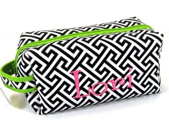 Cosmetic Bag in Greek Key with Lime Green
