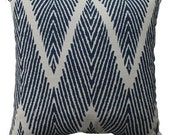1 Pillow Cover navy geometric  ikat linen textured, other colors and other sizes available