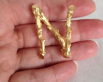 """Vintage Gold """"N"""" Brooch"""