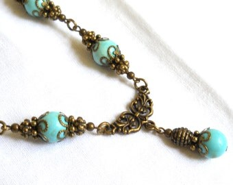 SALE victorian necklace turquoise pendant necklace turquoise necklace vintage inspired necklace stone necklace gift for her victorian style
