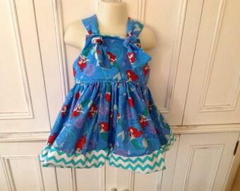 The Little Mermaid Ariel Princess Boutique Dress Size 2T 3T 4T 5 6 turquoise chevron