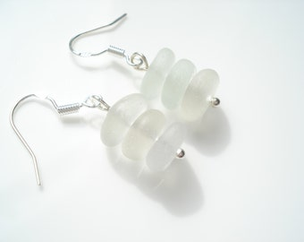 Frosted White Sea Glass hook earrings suspended from Sterling Silver hooks - E1435 - from Seaham,  UK