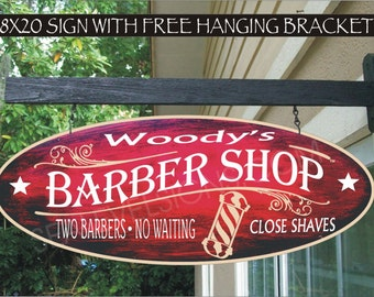 BARBER SHOP POLE  Barber Beauty Salon Hair Cuts Shaves Gift Family Name Aluminum Custom Personalized Sign