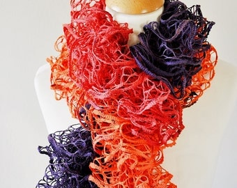 Neon Ruffle Scarf, Handknit Ruffle Scarf, Colorful Frilly Scarf, Fishnet Ruffle Scarf