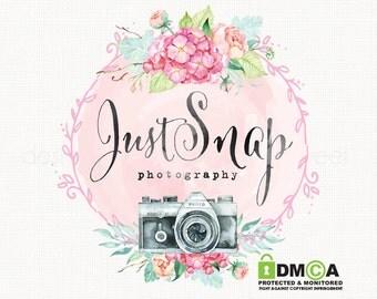 wedding logo premade watercolor camera and flower logo photography logo bespoke logo boutique logo watercolour logo floral frame logo