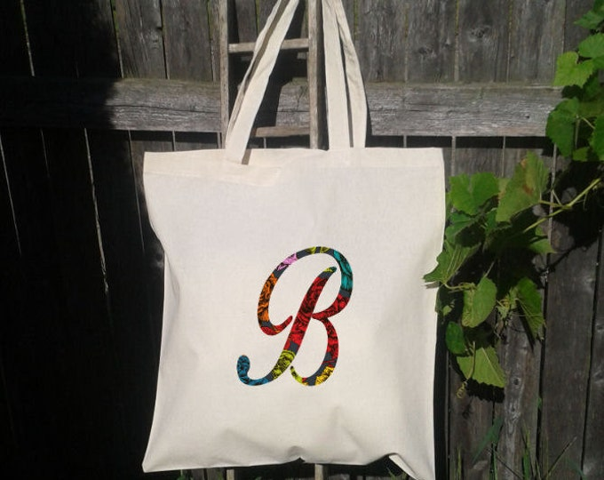 Floral Initial Letter Bridesmaid Tote Bag, Wedding Welcome Bag, Personalized, Bridal Party Tote Bag