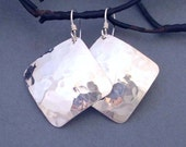 Hammered Sterling Silver Earrings Artisan Handmade Jewelry Square Dangle Earrings Modern Metal Jewelry