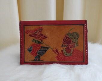 Vintage Red Tooled Leather Asian Oriental Indian Art Aladdin Wallet Large Wallet Case