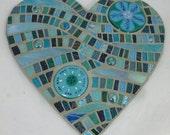 Turquoise and Aquamarine Mosaic Mixed Media Heart Panel with Fused Glass  Flower Roundels