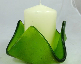 Fused Glass Candle Holder in Iridescent Spring Green