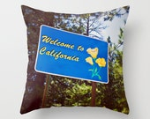 Welcome to California Pillow Case - Cabin Decor - Lake Tahoe - Green and Blue Pillow Case - California Home Decor - 16x16, 18x18, 20x20