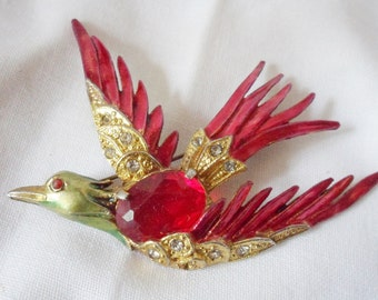 Vintage Red Bird Rhinestone Brooch