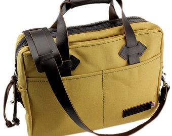 Classic Travel Briefcase - Water Resistant Roomy Cotton Duck - Sierra Sand - Made in America