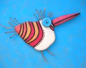 Wooden Woodpecker, Original Found Object Wall Sculpture, Wood Carving, Animal Sculpture, Wall Decor, by Fig Jam Studio