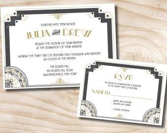 ART DECO GATSBY Wedding Invitation/Response Card Invitation Suite