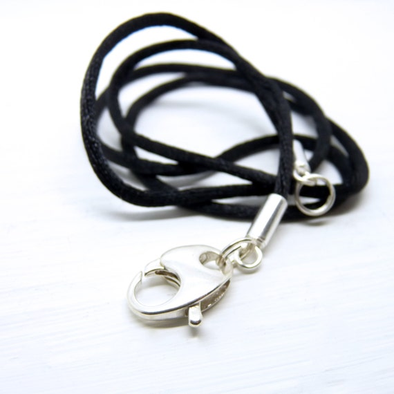 "17"" STERLING SILVER CLASP. Black Satin Necklace Cord with Quality Sterling Silver Findings."
