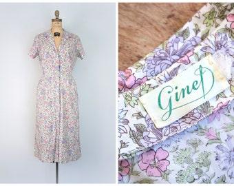 50s ditsy floral print shirt dress - fine cotton / Ginet - pink & lavender / vintage 1950s - bridesmaid