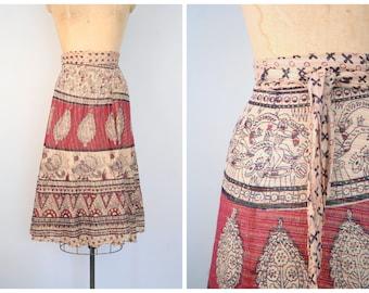 vintage 70s cotton gauze wrap skirt - metallic lurex threads / Bohemian - paisley & birds block print / 60s 1970s - hippie festival