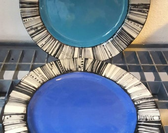 Kristen and Kory's wedding dinner plates in multiple colors