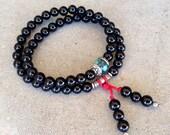Patience, Onyx 54 bead wrap mala bracelet, yoga jewelry, men's jewelry, men, men's yoga