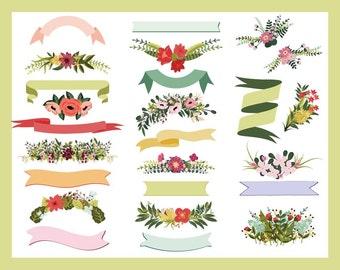 Floral Ribbons & Bouquets - Petal Boutique Clip Art Set - Blog Graphics - Instant Download