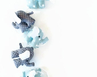 Elephant Garland in blue and grey ; elephant toy, elephant decor,