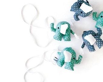 Elephant Garland in mint ; elephant toy, elephant decor
