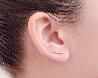 Curved Gold Beads Ear climbers, Yellow Gold Plated, Tiny Beads Ear Wrap, Minimalist Pin Earrings, Modern Jewelry, Hand Made, Gift, ECF012