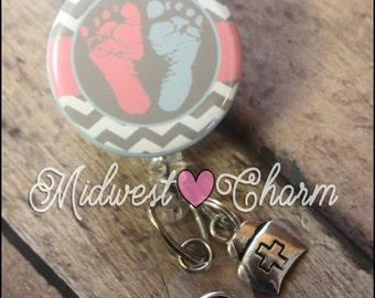 Pink and Blue Baby Feet... Retractable Badge holder