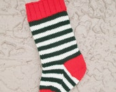 Christmas stocking hand knit in red, green, and off white with FREE U.S. SHIPPING bright stripes