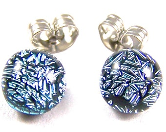 """Tiny Dichroic Post Earrings - 1/4"""" 6mm 7mm - Silver Pewter Platinum Metallic Iridescent Fused Glass Stud Studs Dot Posts"""
