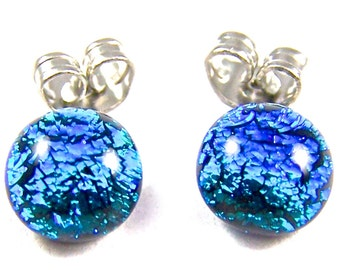 "Tiny Dichroic Post Earrings - 1/4"" 6mm 7mm - Teal Silver Blue Fused Glass Dichro Dot Stud Studs Dot Posts"