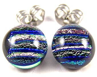 """Tiny Dichroic Pink Studs - Post Earrings - 1/4"""" 6mm 7mm - Soft Pale Pink Rose and Blue Striped Reed Dichro Fused Glass Stud Posts"""