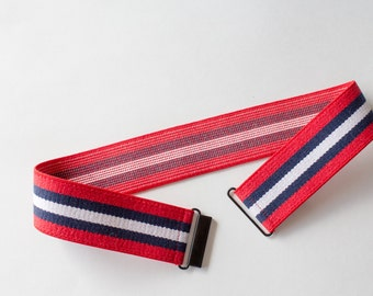 Sample sale - Size small womens striped elastic cinch belt - red, white and navy stretchy cinch belt