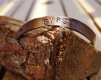 Gypsy Hand Stamped Leather Bracelet