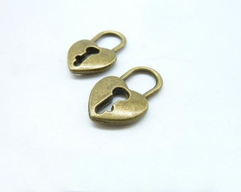 15pcs 13x20mm Antique Bronze  Heart Lock Charms Pendant c7112