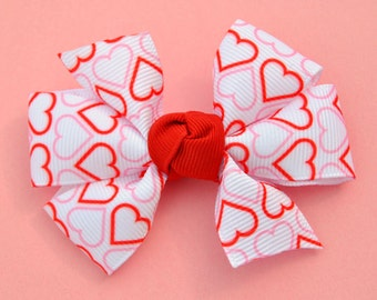 Red & Pink Hearts Valentine Hair Bow