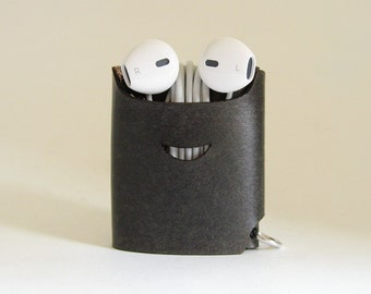 Smiling Earphone Case - Charcoal Gray - The Case with a Face - Leather Earphone Case / Earpod Case / Earphone Wrap / Earbud Organizer