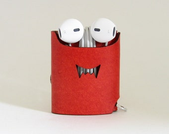 Smiling Monster Earphone Case - Red - The Case with a Face - Leather Earphone Case / Earpod Case / Earphone Wrap / Earbud Organizer