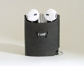 Smiling Monster Earphone Case - Charcoal Gray - The Case with a Face - Leather Earphone Case / Earpod Case / Earphone Cord Wrap / Organizer