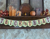 Trick or Treat Banner - Halloween Pumpkins, Diagonal Stripes & Chevrons with Scalloped Pennants # 41