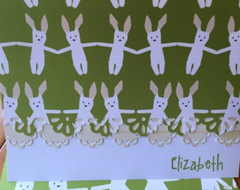 Personalized baby bunny handcrafted Note Cards - personalization may be left off  Set of 10
