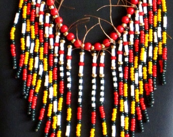 Native American necklace in red, marigold, white and gold