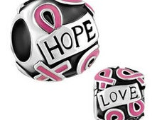 5 Assorted Breast Cancer Awareness Charms, Fits Pandora bracelet